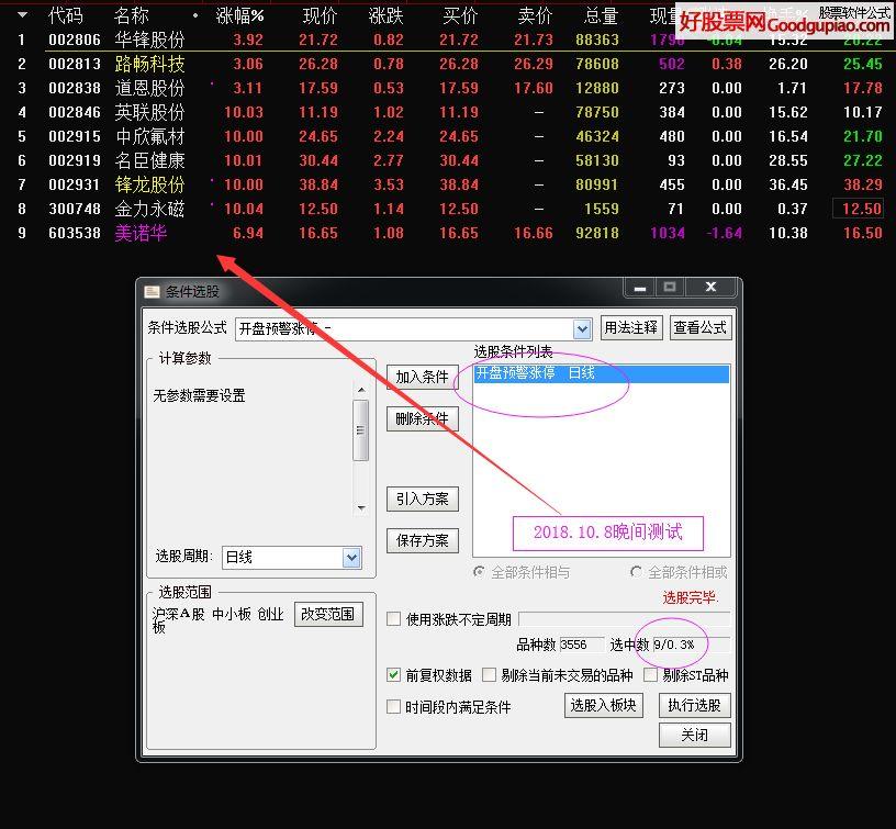 开盘抓涨停选股/预警指标 通达信 贴图